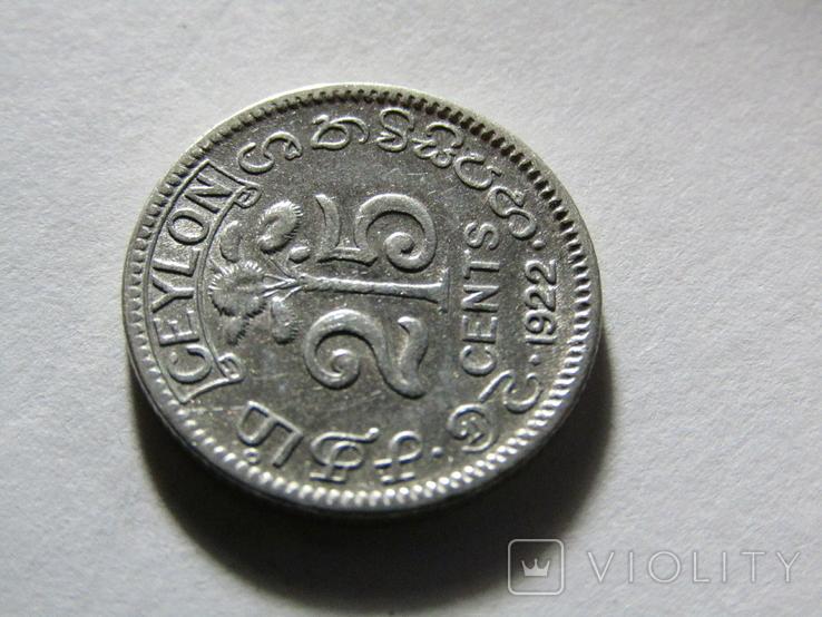 25 центов 1922 Цейлон, фото №4