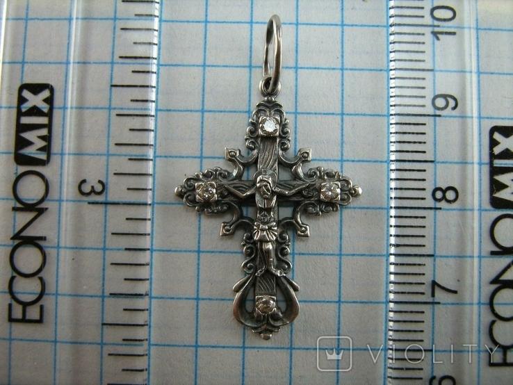 Серебряный Крест Крестик Распятие Иисус Христос Штурвал Камни 925 проба Серебро 482, фото №4