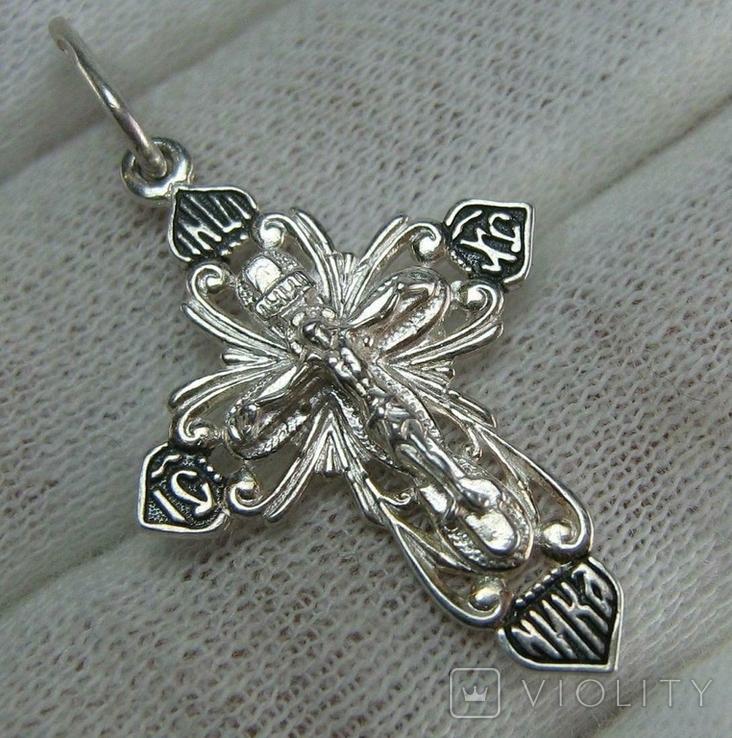 Новый Серебряный Крест Крестик Распятие Иисус Христос 925 проба Серебро 478, фото №2