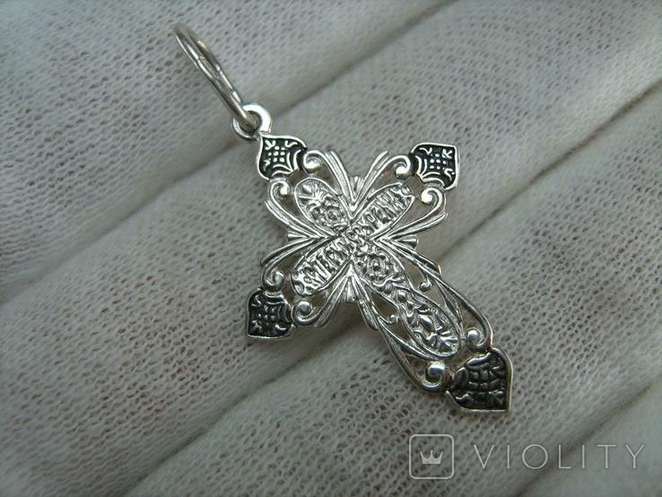 Новый Серебряный Крест Крестик Распятие Иисус Христос 925 проба Серебро 478, фото №3