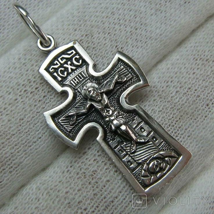 Серебряный Крест Крестик Распятие Иисус Христос Богородица Иерусалим 925 проба Серебро 477, фото №2
