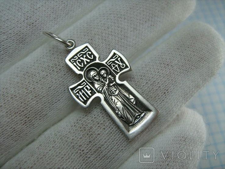 Серебряный Крест Крестик Распятие Иисус Христос Богородица Иерусалим 925 проба Серебро 477, фото №3