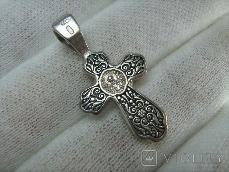 Серебряный Крест Крестик Святой Николай Распятие Иисус Христос 925 проба Серебро 365, фото №3
