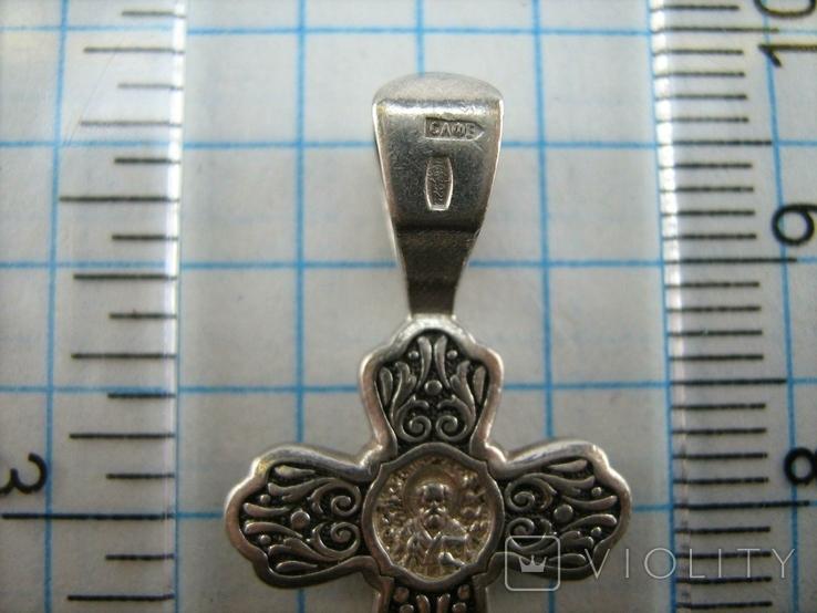 Серебряный Крест Крестик Святой Николай Распятие Иисус Христос 925 проба Серебро 365, фото №5