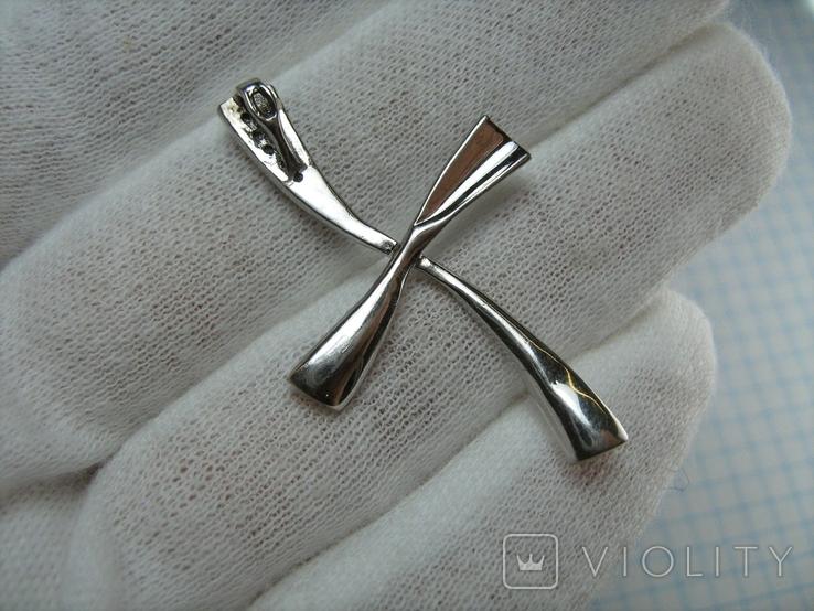 Серебряный Крест Крестик Стилизованный с Камнями Большой 925 проба Серебро 351, фото №3