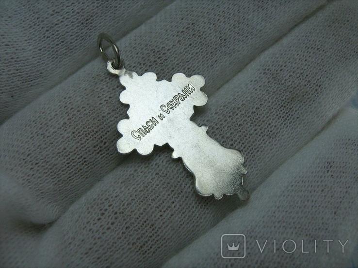 Серебряный Крест Крести Распятие Молитва Спаси и сохрани 925 проба Серебро 383, фото №3