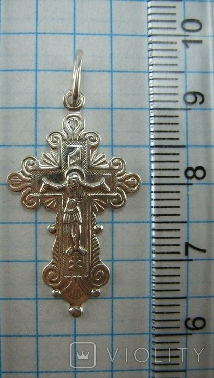 Серебряный Крест Крести Распятие Молитва Спаси и сохрани 925 проба Серебро 383, фото №4