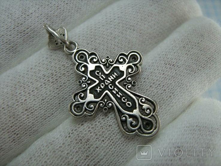 Серебряный Крест Крестик с Камнями Ажурный Спаси и сохрани 925 проба Серебро 466, фото №3