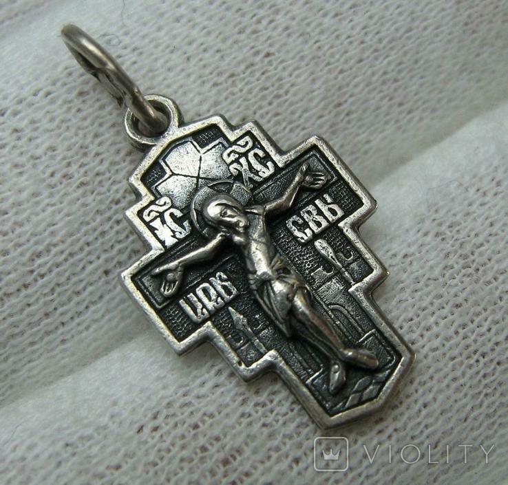 Серебряный Крест Крестик Редкий Сюжет Святой Никита Побивающий Беса 925 проба Серебро 473, фото №2