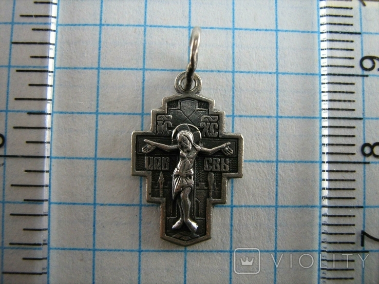 Серебряный Крест Крестик Редкий Сюжет Святой Никита Побивающий Беса 925 проба Серебро 473, фото №4