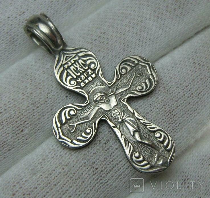 Серебряный Крест Крестик  Распятие Молитва Да воскреснет Бог 925 проба Серебро 458, фото №2