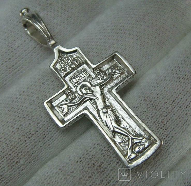 Серебряный Крестик Распятие Молитвы Да воскреснет Крест хранитель вселенной 925 проба 476, фото №2