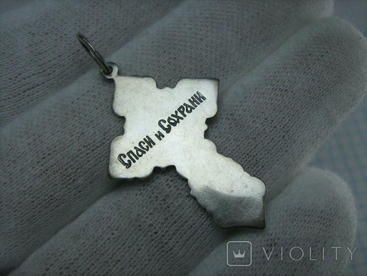 Серебряный Крест Крестик Распятие Молитва Геральдическия Лилии 925 проба Серебро 462, фото №3