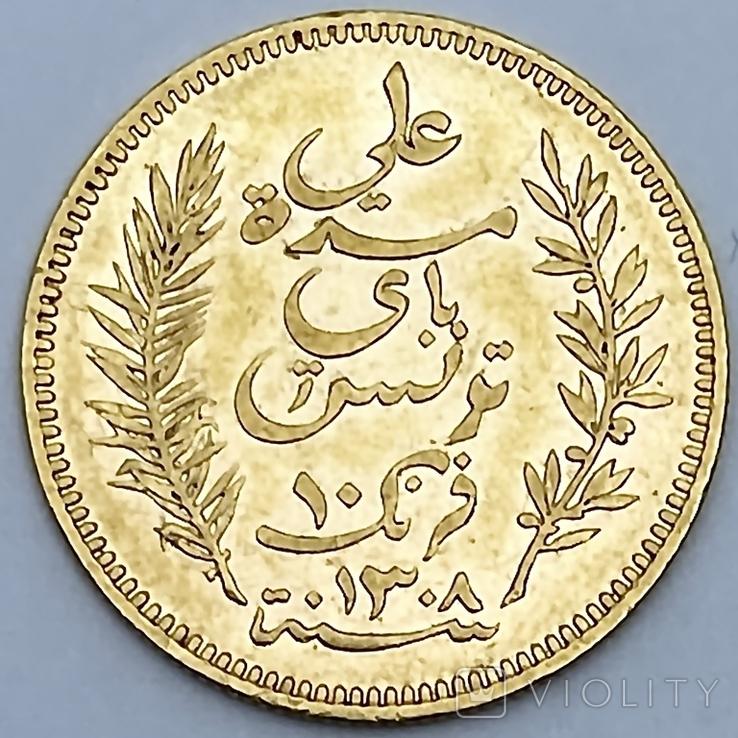 10 франков. 1891. Тунис. (золото 900, вес 3,20 г), фото №2
