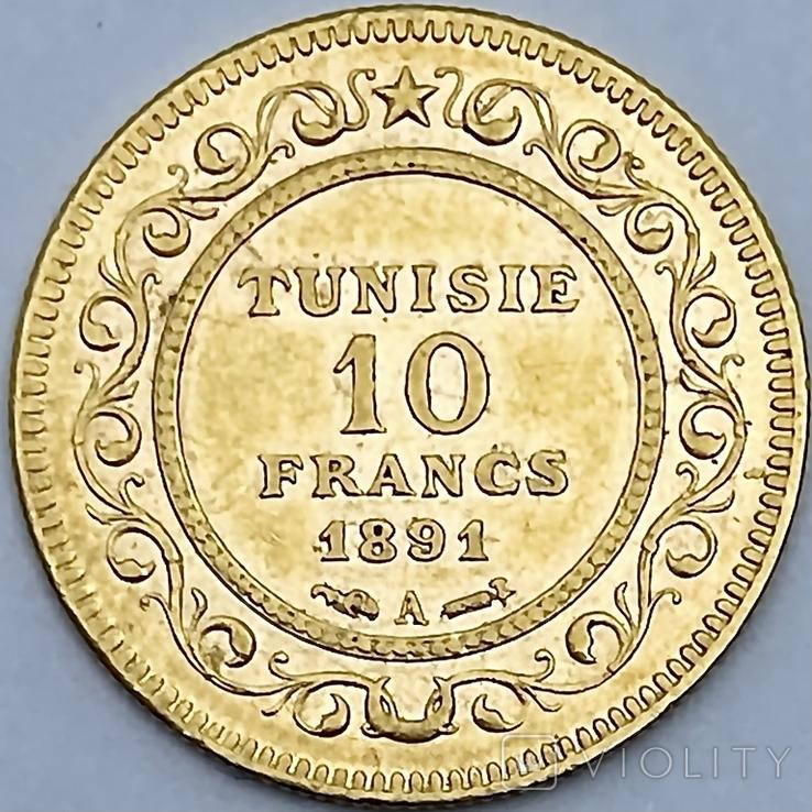 10 франков. 1891. Тунис. (золото 900, вес 3,20 г), фото №3