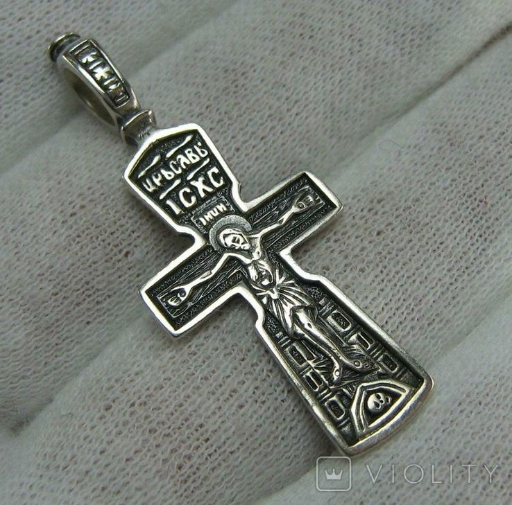 Серебряный Крест Крестик Распятие Молитва Да воскреснет Бог 925 проба Серебро 488, фото №2
