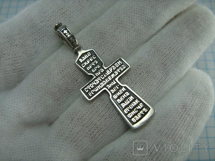 Серебряный Крест Крестик Распятие Молитва Да воскреснет Бог 925 проба Серебро 488, фото №3