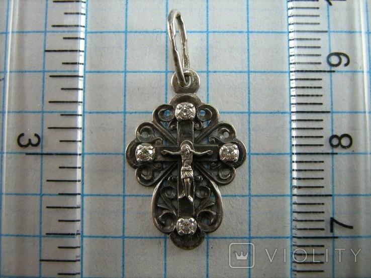 Серебряный Крест Маленький Крестик Ажурный Распятие Спаси и сохрани 925 проба Серебро 468, фото №4