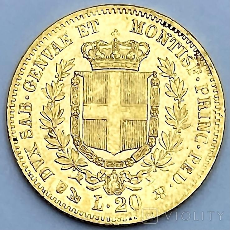 20 лир. 1859. Сардиния. (золото 900, вес 6,45 г), фото №4
