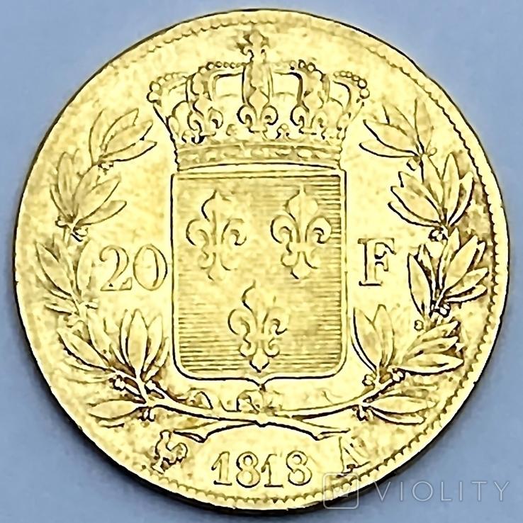 20 франков. 1818. Луи XVIII. Франция (золото 900, вес 6,38 г), фото №3