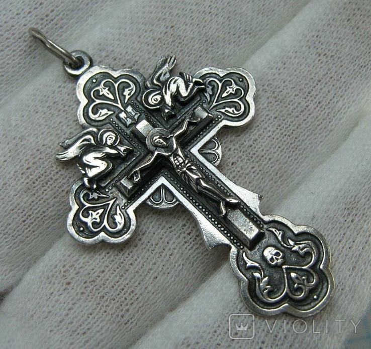 Серебряный Крест Ангелы Распятие Иисус Христос Спаси и сохрани 925 проба Серебро 453, фото №2