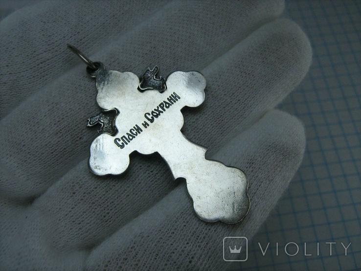 Серебряный Крест Ангелы Распятие Иисус Христос Спаси и сохрани 925 проба Серебро 453, фото №3