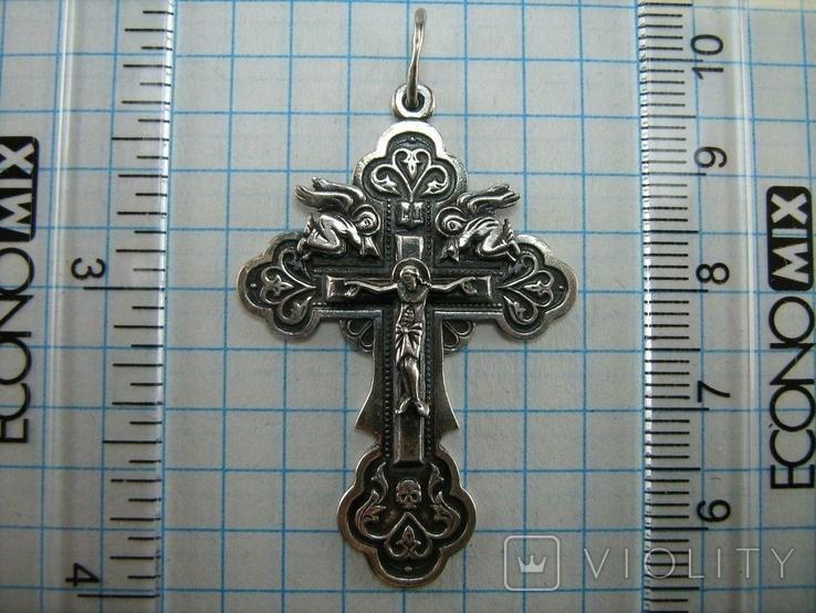 Серебряный Крест Ангелы Распятие Иисус Христос Спаси и сохрани 925 проба Серебро 453, фото №4