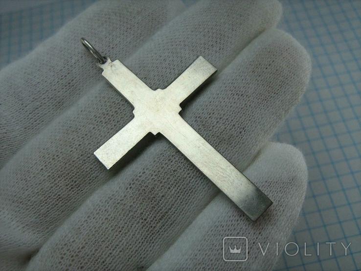 Серебряный Крест Большой Растительный Цветочный Узор Роза 925 проба Серебро 366, фото №3