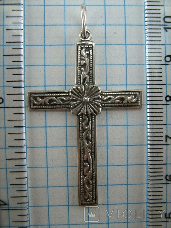 Серебряный Крест Большой Растительный Цветочный Узор Роза 925 проба Серебро 366, фото №4