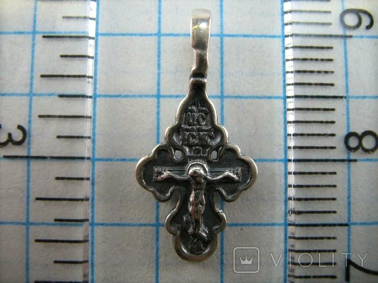 Серебряный Крестик Маленький Детский для Ребенка Молитва Да воскреснет Бог 925 проба 390, фото №4