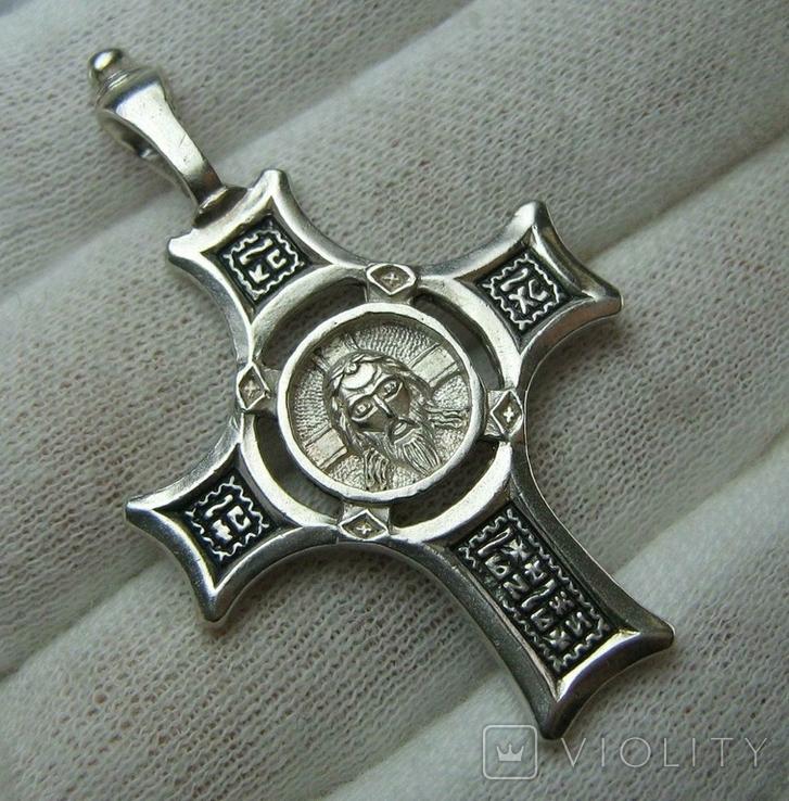 Серебряный Крест Большой Спас Нерукотворный Кресту поклоняемся 925 проба Серебро 434, фото №2