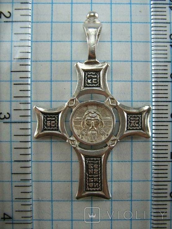Серебряный Крест Большой Спас Нерукотворный Кресту поклоняемся 925 проба Серебро 434, фото №4