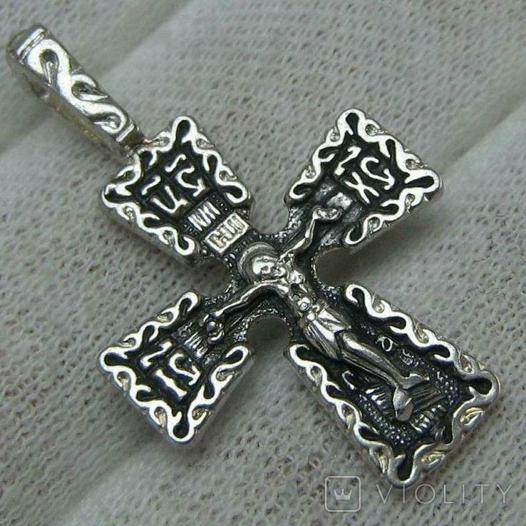 Новый Серебряный Крест Крестик Распятие Спаси и сохрани Узор 925 проба Серебро 484, фото №2