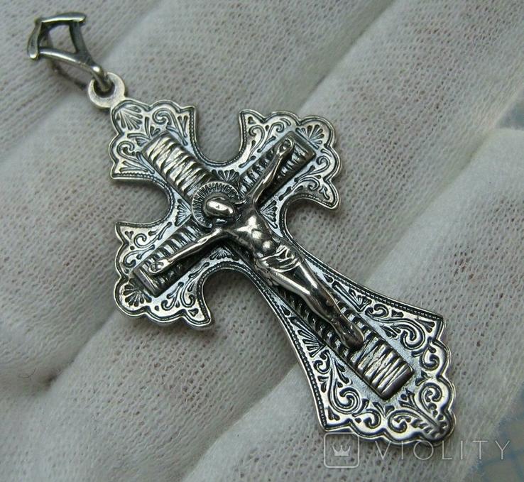 Серебряный Крест Большой Растительный Узор Ручная Гравировка Свеча 925 проба Серебро 456, фото №2