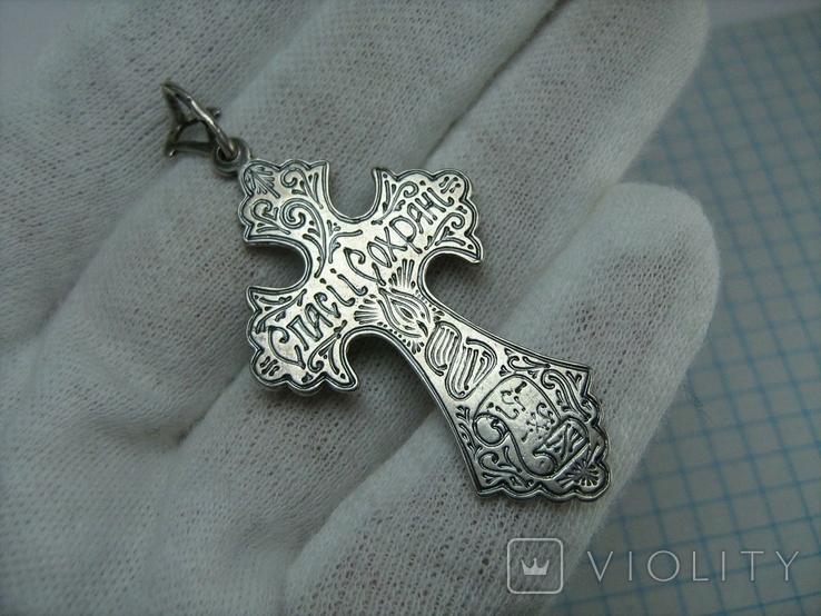 Серебряный Крест Большой Растительный Узор Ручная Гравировка Свеча 925 проба Серебро 456, фото №3