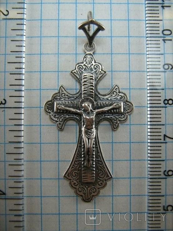 Серебряный Крест Большой Растительный Узор Ручная Гравировка Свеча 925 проба Серебро 456, фото №4