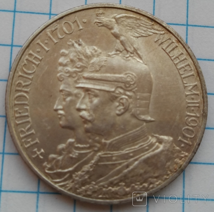 2 Марки 1901 200 Лет Династии Гогенцолернов, Пруссия, фото №2