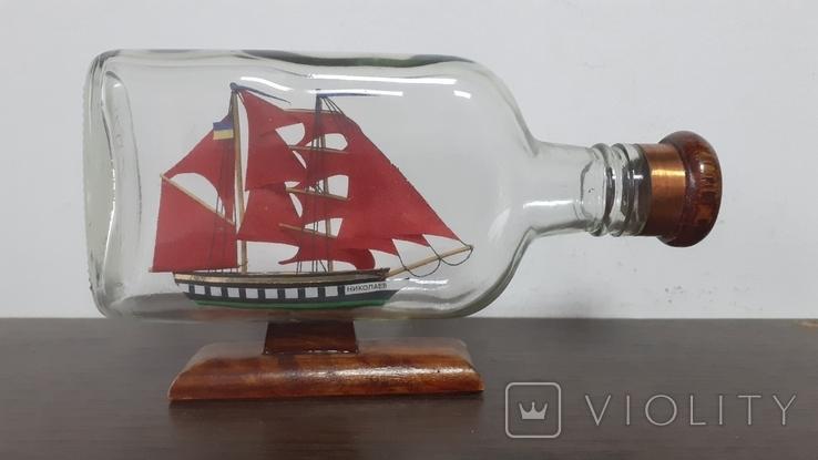 Корабль в бутылке. Модель ручная работа, фото №2