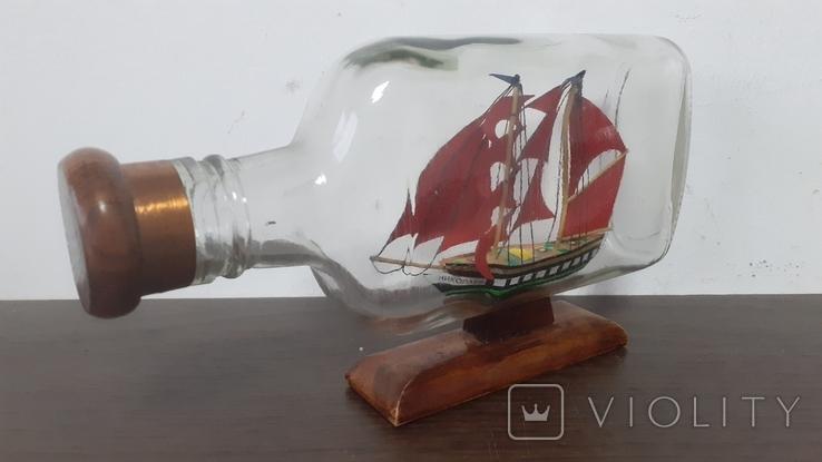 Корабль в бутылке. Модель ручная работа, фото №6