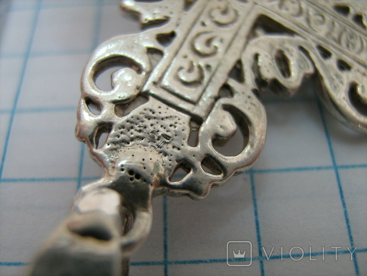 Серебряный Крест Большой Ручная Работа Зернь Винтаж Ажурный 925 проба Серебро 128, фото №5
