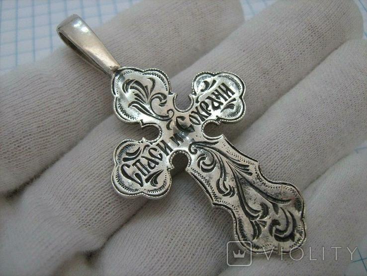 Серебряный Крест Большой Растительный Узор Ручная Гравировка 925 проба Серебро 078, фото №3