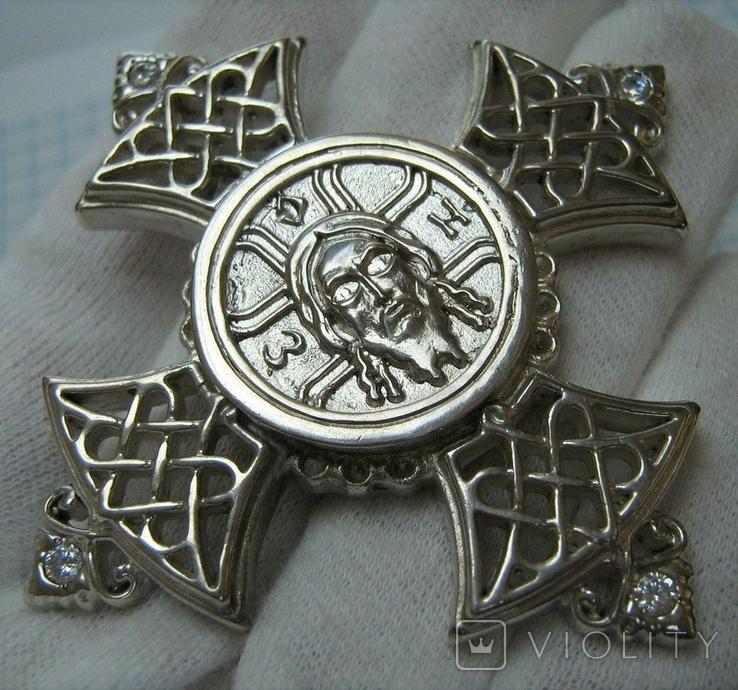 Серебряный Крест Большой Ручная Работа Геральдическая Лилия Камни 925 проба Серебро 324, фото №2