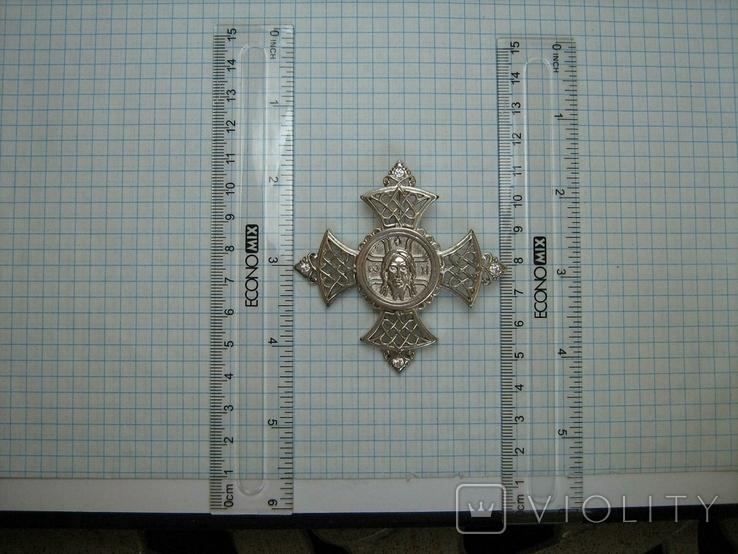 Серебряный Крест Большой Ручная Работа Геральдическая Лилия Камни 925 проба Серебро 324, фото №4