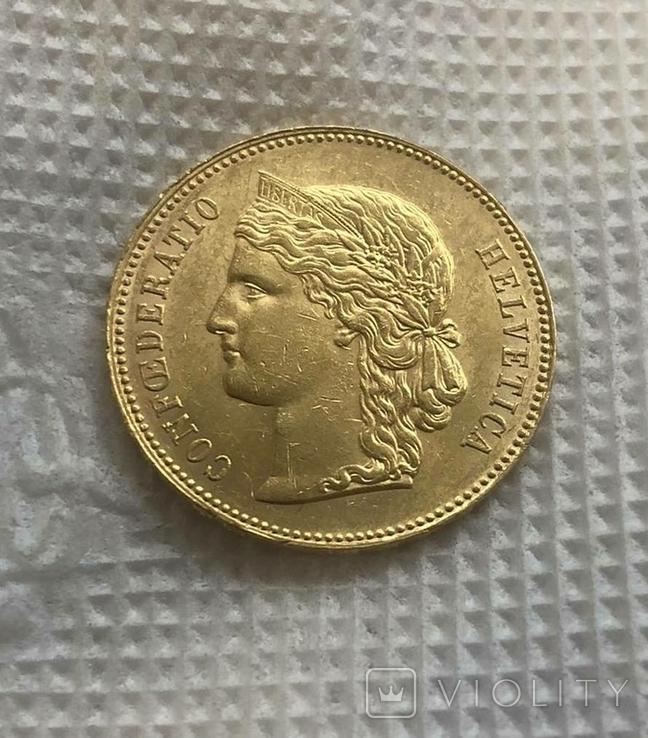 20 франков 1890 год Швейцария золото 6,45 грамм 900