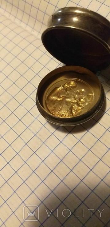 Серебряный медальон с религиозным изображением, фото №7