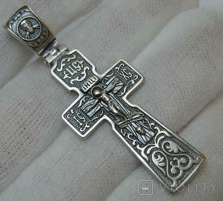 Серебряный Крест Большой Ручная Работа Геральдическая Лилия Камни 925 проба Серебро 319, фото №2