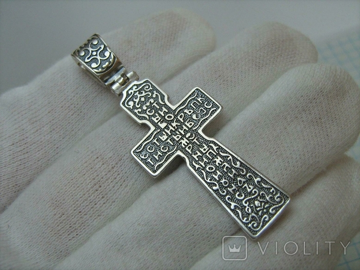 Серебряный Крест Большой Ручная Работа Геральдическая Лилия Камни 925 проба Серебро 319, фото №3