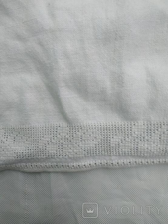 Сорочка білим по білому з вирізуванням,Миргородська вишиванка конопляна полотняна, фото №4