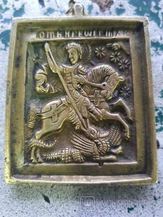 Пластика Чудо Георгия о змие бронзовая Икона