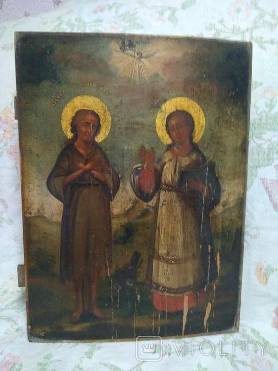Старая икона. Египетская Мария и Роман Сладкоповец.